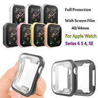 TPU Cover for Apple Watch Series 6 5 4 Full Screen Protector Film Case 40mm/44mm