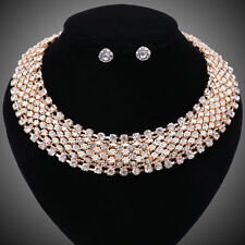 Women Costume Collar Statement Crystal Necklace Earring Wedding Party Sets