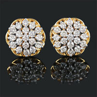 14k Yellow Solid Gold Pave Natural Diamond Stud Earrings Jewelry NEW COLLECTION!