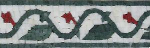 Decorative Red Rose Flower Bud Oriental Design Border Marble Mosaic BD863