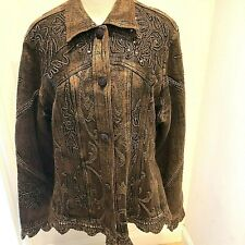 Flashback Women's Size L Jacket Brown Sequins Embellished Copper Boho