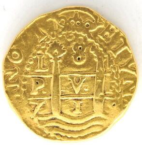 1719 L M Peru  8 Escudos Spanish Colonial Gold Doubloon Coin Philip V KM# 38.2