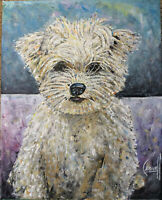 Roscoe the Wonder dog new oil painting 8x10 canvas original signed art Crowell $