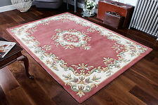 Chinese Pastel Col. PINK ROSE CREAM Oriental Aubusson Hand tufted 100% Wool Rugs