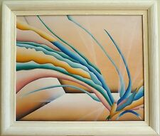 VTG Abstract Mixed Media Fine Art On Canvas Framed Janch Signed