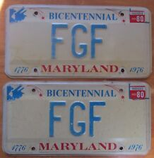 Maryland 1980 BICENTENNIAL VANITY License Plate PAIR # FGF