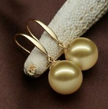 gorgeous  south sea a pair of 10-11mm gold pearl earring 14k