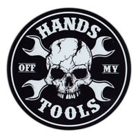 Magnetic Bumper Sticker - Hands Off My Tools - Skull, Crossbones, Wrenches