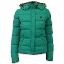 Ladies Jacket Brave Soul Womens Coat Hooded Padded Puffer Tartan Fur Winter Jade - Hopjktpkd UK 14