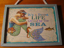 SWEET LIFE LIVING BY THE SEA Vintage Style MERMAID BEACH WOOD SIGN Home Decor