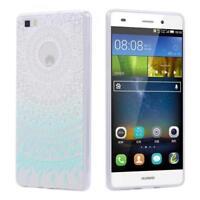 Huawei P8 Lite CUSTODIA SLIM COVER TPU SILICONE CASE MANDALA TRASPARENTE CLEAR M