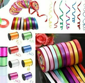 Curling Ribbon Disc Rolls Reels 5mm / 1cm Widths Double Sided 55 Metres Balloon