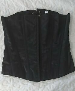Anne Summers Black Strapless Boned Tie Up Back Corset Size 14