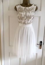 Ex Little Mistress New Womens Sequin White Tulle Party Evening Dress Size 10