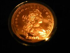 1 OZ COPPER ROUND COIN 1800 BUST .999 FINE COPPER IN HARD CLEAR PROTECTIVE CASE