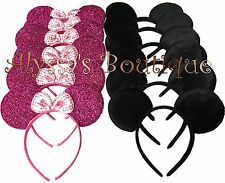 Minnie Mickey Mouse Ears Headbands 24 pcs Black Dark Pink Birthday Party Costume