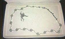 $2300 Vintage 14K white gold flower 1+ carat diamond necklace& earrings 20 grams