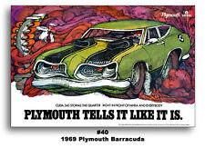 1969 PLYMOUTH BARRACUDA CUDA 340 AD BROCHURE 24x36 TELLS IT LIKE IT IS POSTER