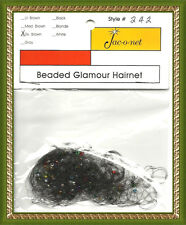 Jac-O-Net clear beaded glamour thin hair net dark brown