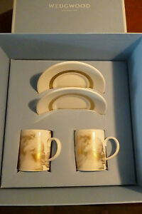 Wedgwood Gilded Muse The Lovers Pair of Espresso Cups & Saucers - BNIB-RRP £81