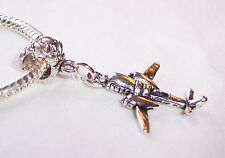 Airplane Double Engine Prop Plane Dangle Charm for European Bead Slide Bracelets