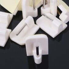 OFF WHITE CURTAIN ROD 10x Stick On Wire Rail Hooks Voile Curtain Upvc Support UK