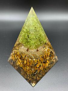 Orgonit Pyramide Lebensbaum Tigerauge Bergkristall max Power XL 633