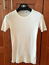 Classic White CHANEL ribbed knit tee tunic top shirt 40 M