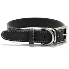 Gooby Dog Collar Small Breed Large Black Synthetic Lambskin