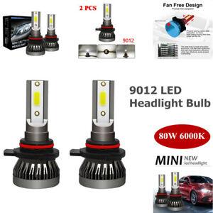 2PCS 9012 LED High Brightness Headlight Bulb High/Low Beam Kit 80W 6000K 9-36V