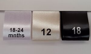 Printed Satin Ribbon Size Labels For Garment Clothing Label Tags