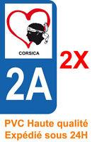 2 Stickers autocollant plaque d'immatriculation adhésif département 2A Corse