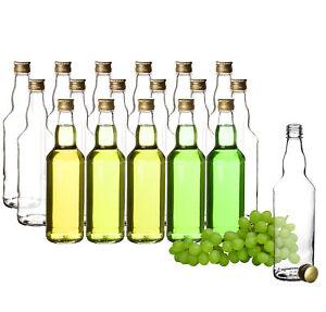 18 Glasflaschen mit Schraubverschluss Deckel 500ml Saft Likör Öl Schnaps Flasche