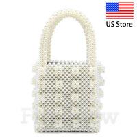 Womens Beaded Bag Handbag Handmade Evening Purse Tote Crystal Luxury Pearl Bag