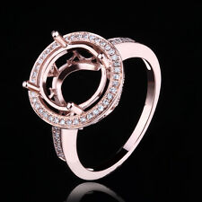 Pave & Prong Setting Ring Semi Mount Round Cut 10K Rose Gold Diamonds Ring 6.5#