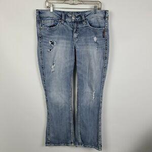 Silver Jeans Twisted Boot Cut Distress Womens Medium Wash Jeans Plus Size 16x30