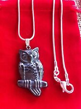 Hematite Owl Gemstone Sterling Silver Pendant Necklace Totem Animal Wicca