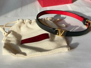 Valentino Black+Red Calf Leather Choker Necklace (Never Worn)