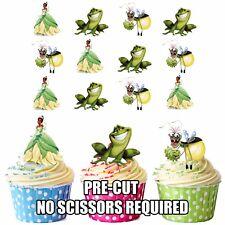 Precut DISNEY PRINCESSE TIANA ET LA GRENOUILLE 12 Comestible Cupcake Toppers Décorations