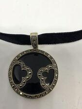 Vintage Deco Sterling Silver Genuine Black Onyx Marcasite Necklace Choker