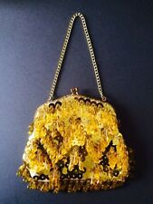 VINTAGE PURSE EVENING BAG GOLD SEQUIN WITH DROP BEADS RHINESTONE CLASP