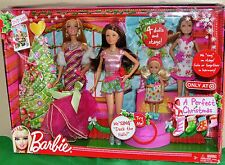 Barbie A Perfect Christmas 4 Singing Dolls & Stage- New in Box