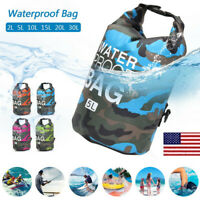 US PVC Waterproof Large Dry Bag Backpack Camping Canoe Floating Boating Sack OCC