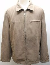 G2000 Brown Fabric Suede Zipper Men Jacket Coat Large Lined Layering