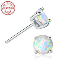 Opal Stud Earrings Sterling Silver Fire Opal 925 Jewelry Round Opal Earrings