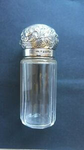 Vintage glass container with Sterling Silver lid...#D 1