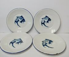 New listing Vintage Set 4 Butterfly Brand China Blue & White Enamelware Dish Plate Koi Fish