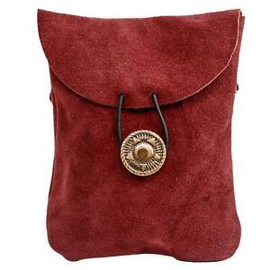 Medieval Renaissance Suede Jewelry Belt Pouch LARP Costume Waist Bag - Wine Red