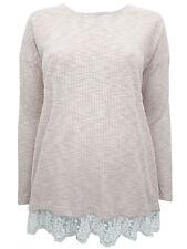 New Dorothy Perkins Maternity 12 14 Dusty Pink Beige Rib Lace Top Jumper