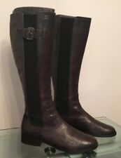Armani Charcoal Grey Leather Reptile Print Size 38 (5) Knee Length Pull On Boots